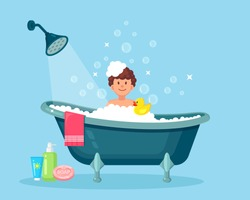 Happy man taking bath in bathroom with rubber duck. Wash head, hair, body, skin with shampoo, soap, sponge, water. Bathtub full of foam with bubbles. Hygiene, everyday routine, relax. Vector design