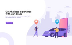 happy man wait for taxi driver vector illustration concept,  Online car sharing   with cartoon character and smartphone can use for, landing page, template, ui, web, mobile app, poster, banner, flyer