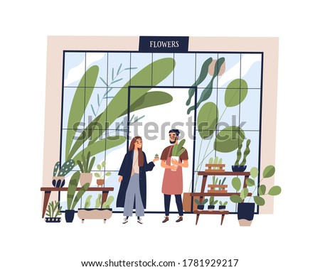 Happy man working at small shop with potted plants vector flat illustration. Male owner of growing and selling flowers at store isolated. Smiling vendor sell houseplant in pot to female buyer