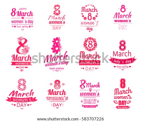 Shutterstock Happy 8 March women day posters set. Love spring holiday. Best wishes for mothers, adorable daughters, lovely sisters. Vector set of logotypes and stickers for international holiday celebration