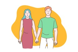 Happy marriage and romantic relationships, man and woman understanding and respect, strong family bond concept. Couple holding hands, boyfriend and girlfriend dating. Simple flat vector