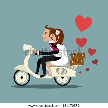 Happy married couple on a moped