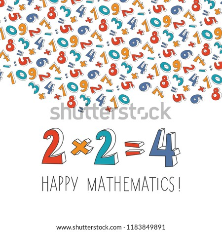 Happy mathematics concept illustration. Doodle three-dimensional contour math signs. Bright funny childish cartoon style. Card, poster, flyer or banner for math event. EPS 10