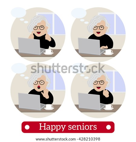 happy mature woman  vector set