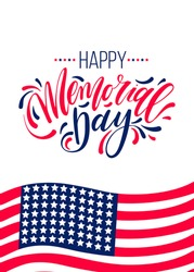 Happy Memorial Day card. National american holiday vector illustration with hand lettering