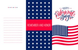 Happy Memorial Day cards. National american holiday vector illustration with hand lettering