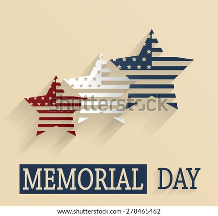 Happy Memorial Day. Red, white and blue stars. Vector illustration.