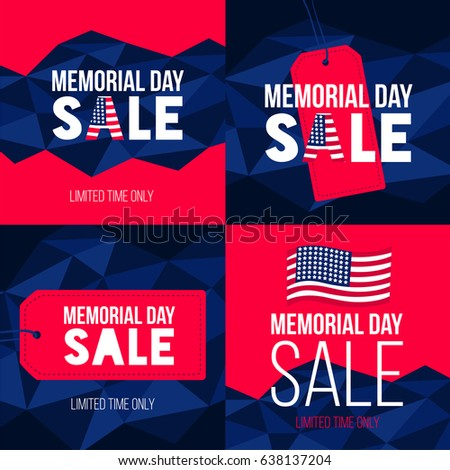 Happy Memorial Day sale, set of cards with USA flag and lettering. National american holiday vector illustration