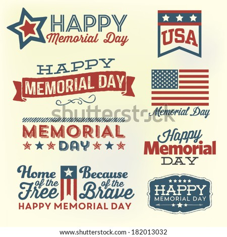 Happy Memorial Day Vector Set | Patriotic American Flag and Ribbon Vector Set | Home of the Free