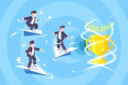 Happy men flying high on paper airplane vector illustration. Businessman is anxious for success and reward gold cup flat style. Business leadership and teamwork concept