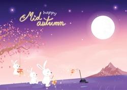 Happy Mid Autumn, cute rabbit cartoon and sakura falling with full moon, fantasy concept, invitation poster card festival celebration background vector illustration