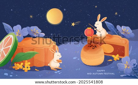 Happy mid autumn festival illustration banner. Cute rabbits enjoying tasty moon cakes and watching the moon scenery at night.