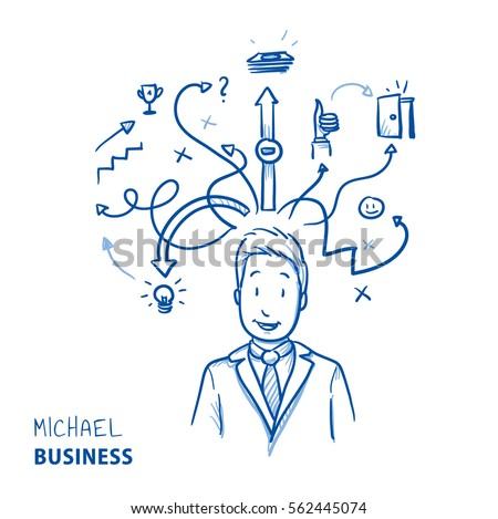 Happy modern business man, with arrows and strategy icons, concept for planning, strategy, idea. Hand drawn line art cartoon vector illustration.