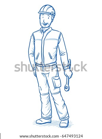 Happy modern male car mechanics or technician, with safety helmet and tool in his hands. Hand drawn line art cartoon vector illustration.