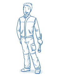 Happy modern male car mechanics or technician, with tool in his hands. Hand drawn line art cartoon vector illustration.