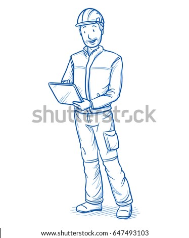 Happy modern male technician or mechanics, with tablet in his hands and checking data. Hand drawn line art cartoon vector illustration.