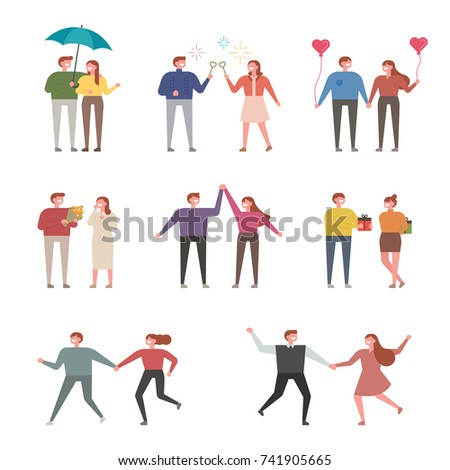 happy moments of couples vector