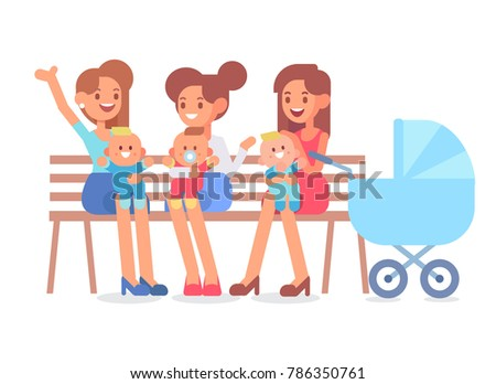Happy moms sitting on a bench in the park with their newborn babies. Vector illustration in a flat style.