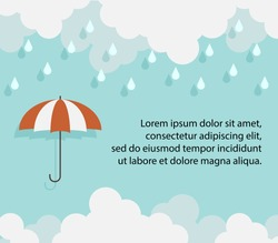 Happy Monsoon season background template with cloud rain and umbrella for banner poster flyer or advertising. Flat design for business financial marketing advertisement concept cartoon illustration.
