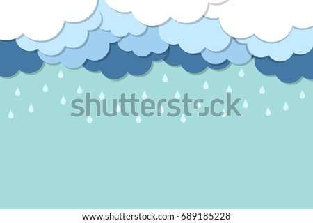 Happy Monsoon Season Background with Cloud and Rainy. Vector Illustration.