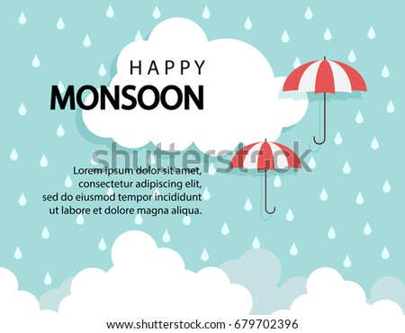 Happy Monsoon season background with cloud and umbrella. sale banner. season off. discount poster. layout advertising. Rainy Season, Vector Illustration.