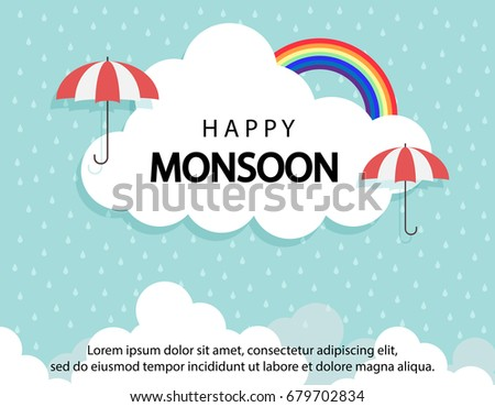 Happy Monsoon season background with cloud rainbow and umbrella. sale banner. season off. discount poster. layout advertising. Rainy Season, Vector Illustration.