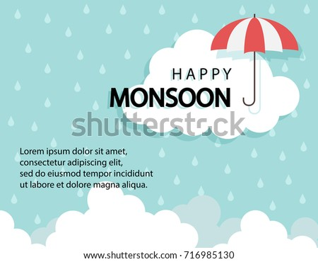 Happy Monsoon season background with cloud rainy and umbrella. sale banner. season off. discount poster. layout advertising. Rainy Season, Vector Illustration.