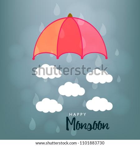 Happy Monsoon Season design, Vector Illustration.