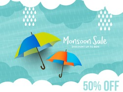 Happy Monsoon Season Sale Poster Or Sale Banner Template Design.
