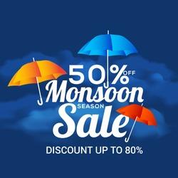 Happy Monsoon Season Sale Poster Or Sale Banner Template Design.