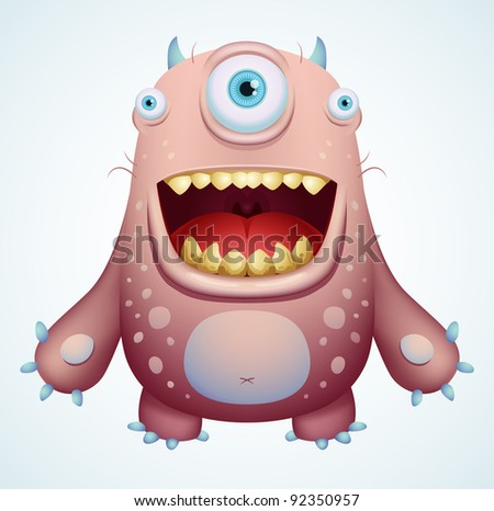 Happy Monster Illustration Happy Monster