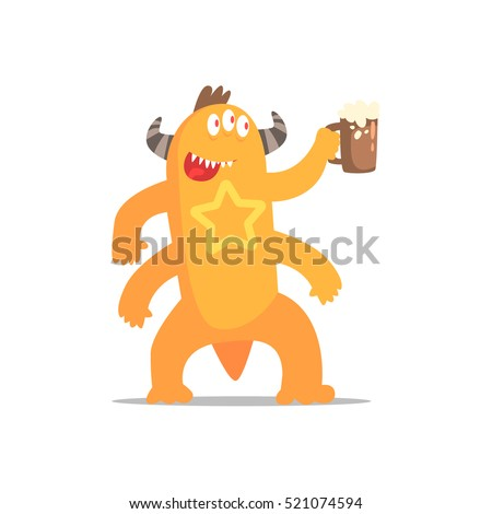 Happy Monster With Four Arms And Horns Drinking Beer Partying Hard As A Guest At Glamorous Posh Party Vector Illustration