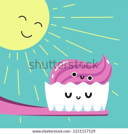 Happy morning brushing teeth in bathroom, Habituate kid card. Сток-фото ©