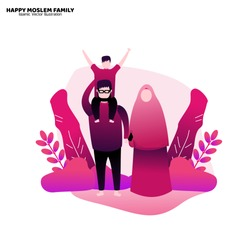 Happy moslem family, islamic vector illustration, material design