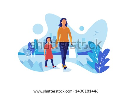 Happy mother and daughter shopping in the city. Mum and child kid walking with shopping gift bag in the town park garden with skyline in the background. Cartoon fluid shape urban vector illustration.