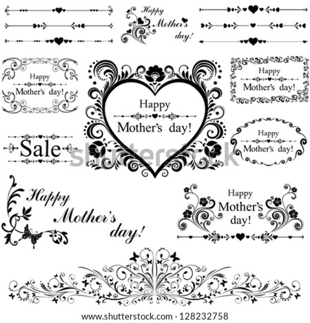 Happy mother day background. Collection of design elements vintage set isolated on White background. Vector illustration - stock vector