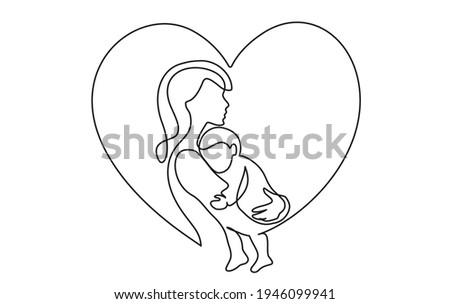 Happy Mother day card. Continuous one line drawing. Woman hold her baby inside heart. Vector illustration