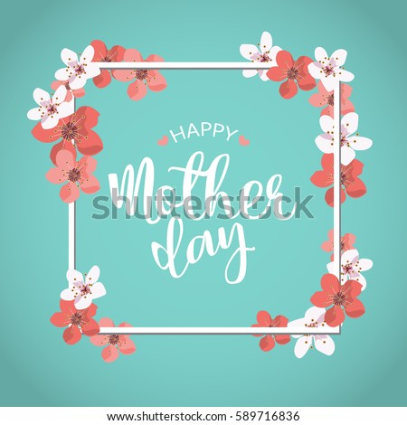 happy mother day, holiday pink flower on blue  background. can be use for sale advertisement, backdrop. vector
