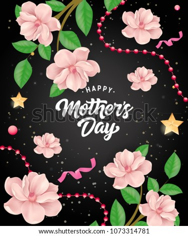 happy mother day lettering with