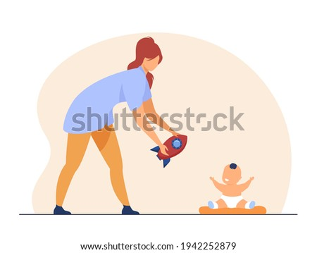 Happy mother giving toy to little baby. Rocket, infant, mom flat vector illustration. Motherhood and infancy concept for banner, website design or landing web page Stock photo ©