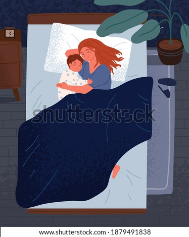 Happy mother hugging little child, sleeping together in bedroom Cute relaxed family lying on comfy bed under blanket at night. Mom and kid embracing each other and slumbering at home Stock photo ©