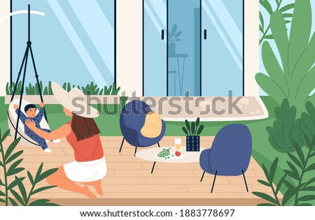 Happy mother playing with little son at backyard of house vector flat illustration. Joyful family spending time together at summer weekend. Woman enjoying motherhood outdoor Photo stock ©