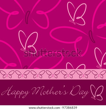 Happy Mother's Day butterfly card in vector format
