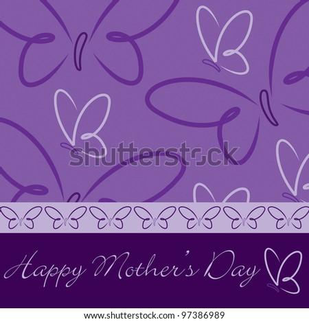 Happy Mother's Day butterfly card in vector format.
