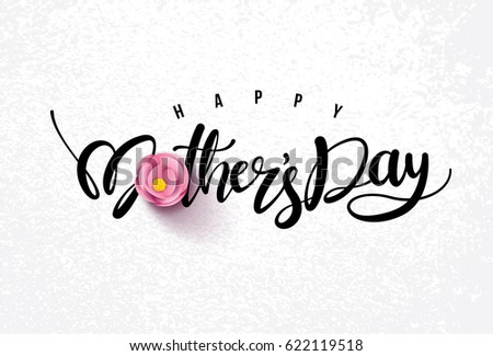 Happy Mothers Day Calligraphy With Flower BackgroundVector