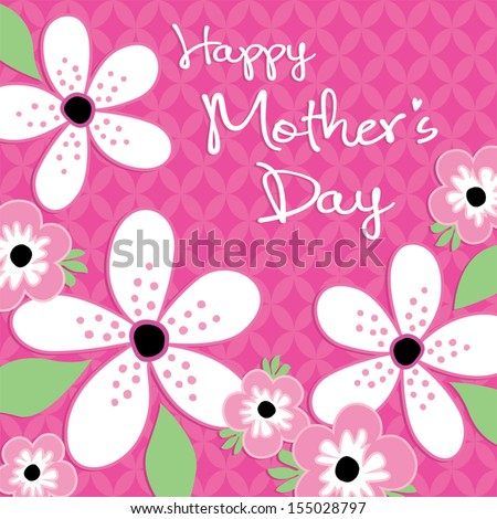 Happy Mother's Day Card template with vintage pink and white flowers on dark pink lattice background See my folio for JPEG version and for other colors