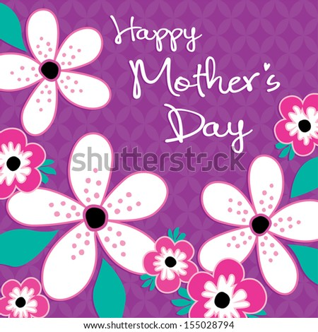 Happy Mother\'s Day Card template with vintage pink and white flowers ...