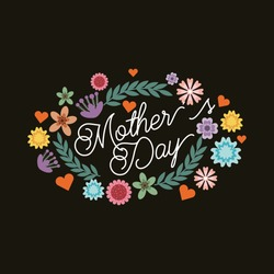 happy mother's day card with beautiful flowers over black background. colorful design. vector illustration
