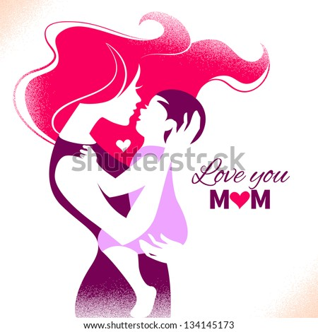 Happy Mother\'s Day. Card with beautiful silhouette of mother and baby