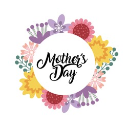 happy mother's day card with beautiful  wreath of flowers over white background. colorful design. vector illustration